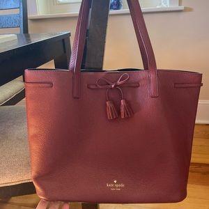 Kate Spade Burgundy tassel tote bag